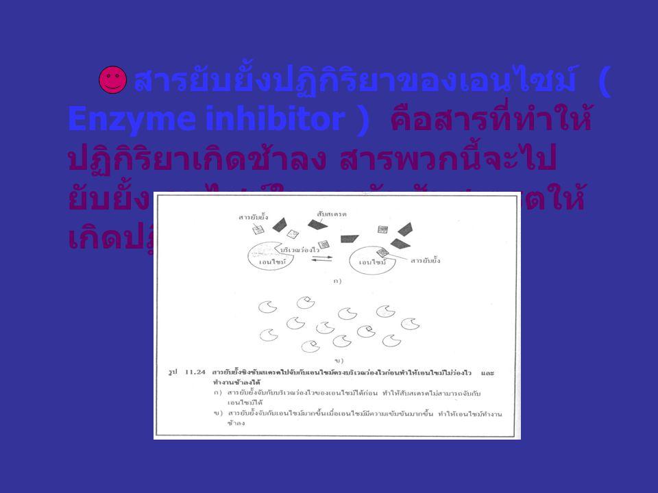สารยับยั้งปฏิกิริยาของเอนไซม์ ( Enzyme inhibitor ) คือสารที่ทำให้ปฏิกิริยาเกิดช้าลง สารพวกนี้จะไปยับยั้งเอนไซม์ในการจับสับสเตรตให้เกิดปฏิกิริยา