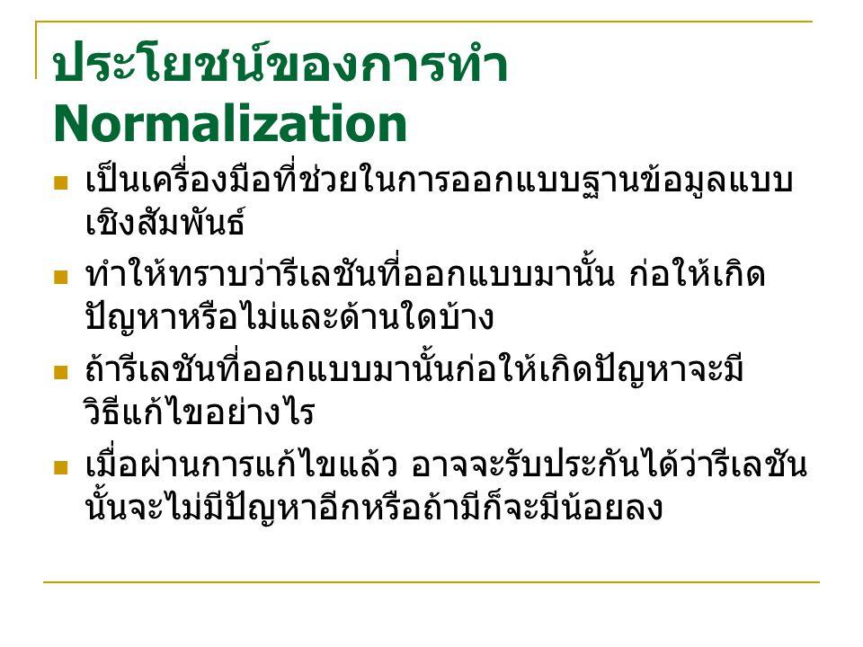 ประโยชน์ของการทำ Normalization