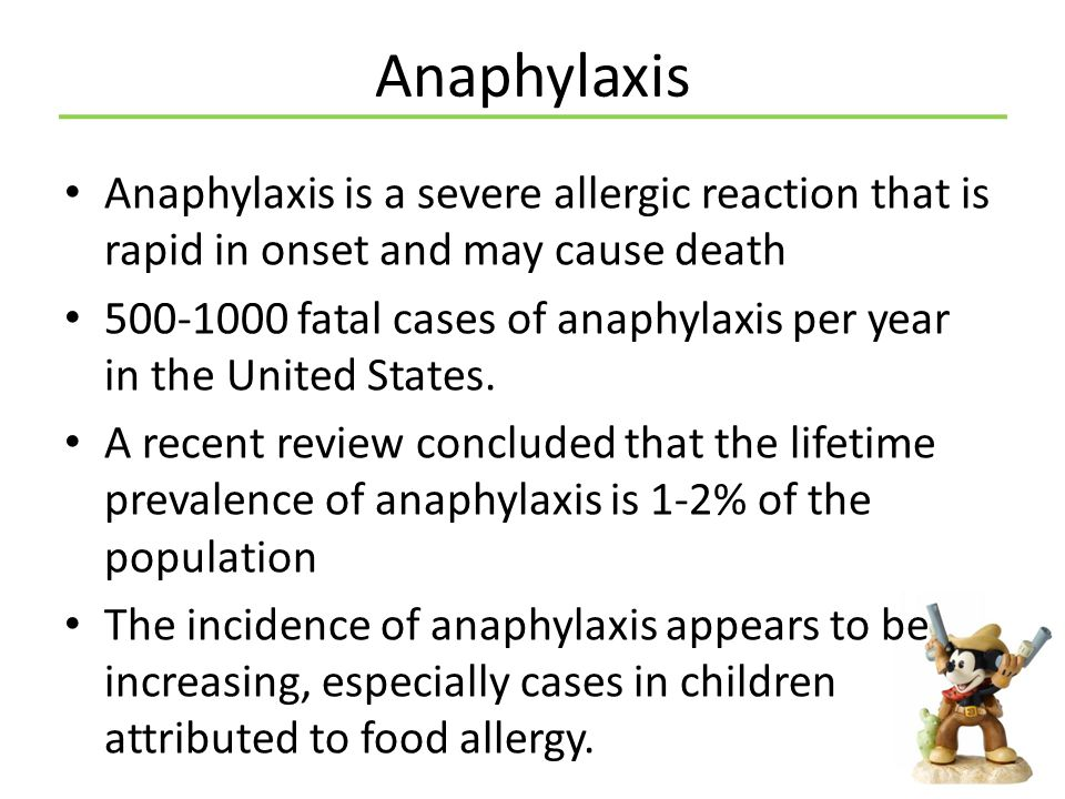 Anaphylaxis Anaphylaxis is a severe allergic reaction that is rapid in onset and may cause death.