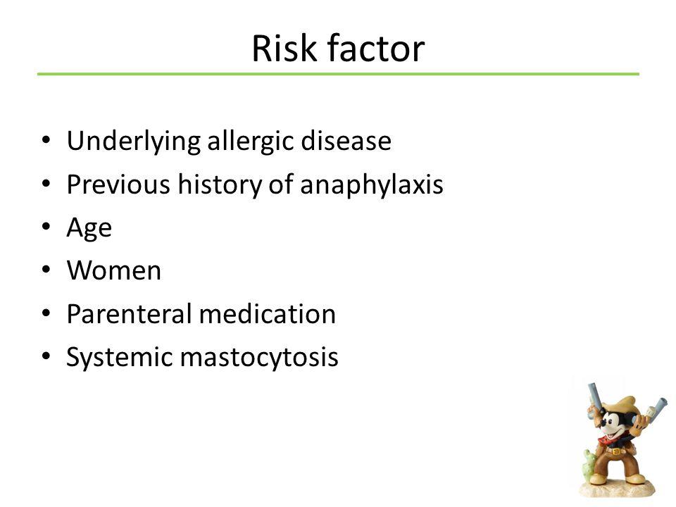 Risk factor Underlying allergic disease
