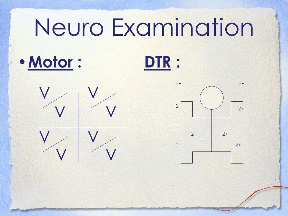 Neuro Examination Motor : DTR : 2+ V V V V V V V V