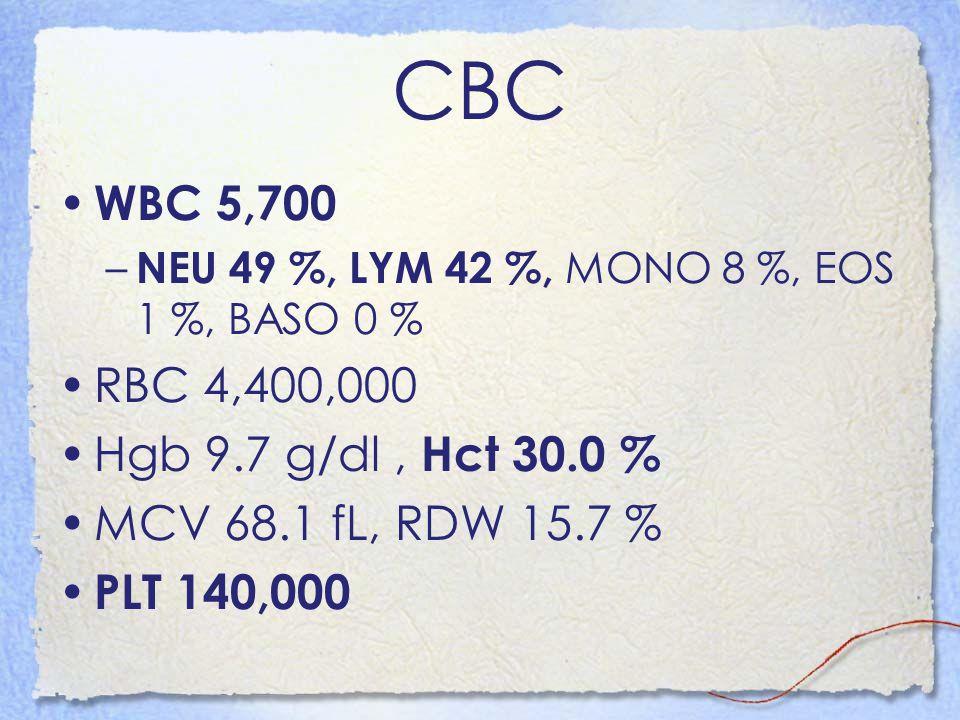 CBC WBC 5,700 RBC 4,400,000 Hgb 9.7 g/dl , Hct 30.0 %