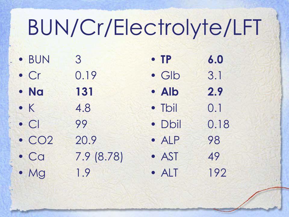 BUN/Cr/Electrolyte/LFT