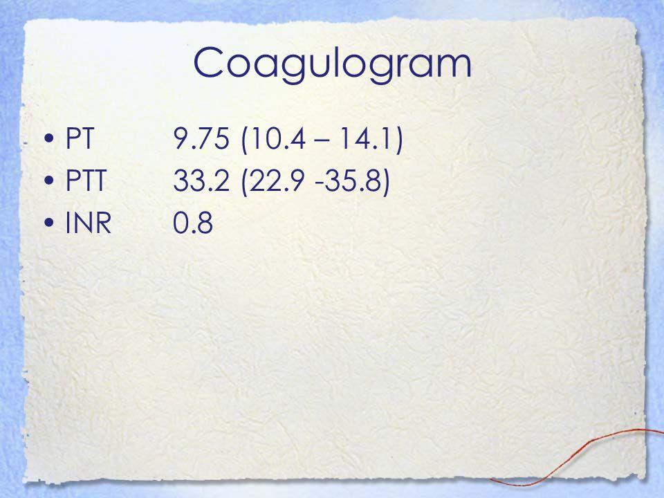 Coagulogram PT 9.75 (10.4 – 14.1) PTT 33.2 (22.9 -35.8) INR 0.8
