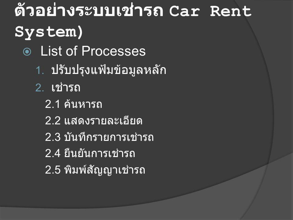 ตัวอย่างระบบเช่ารถ Car Rent System)