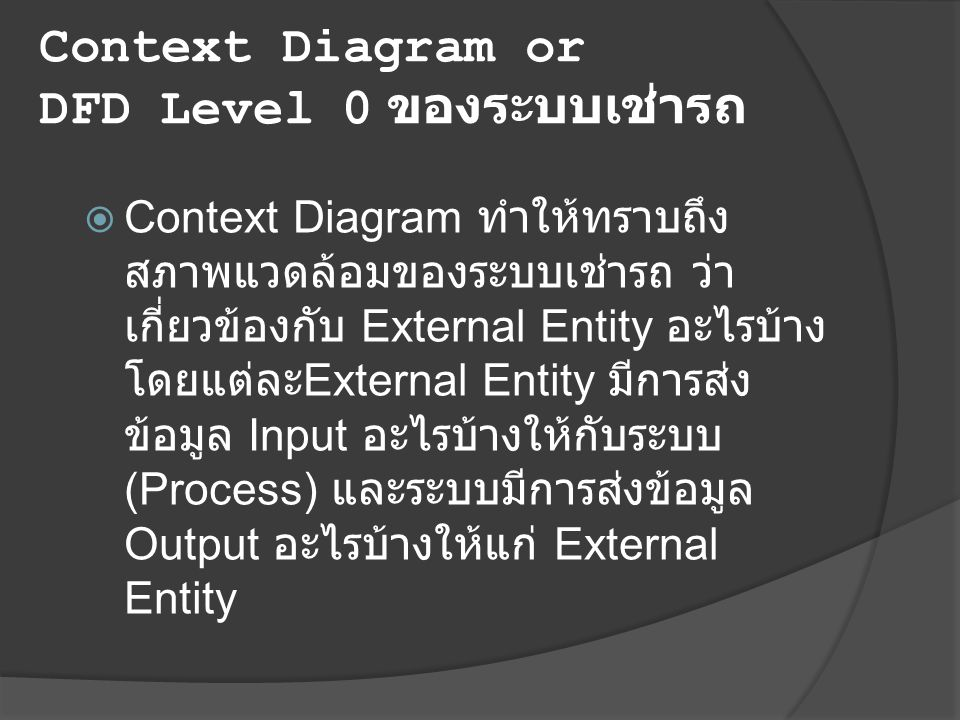 Context Diagram or DFD Level 0 ของระบบเช่ารถ