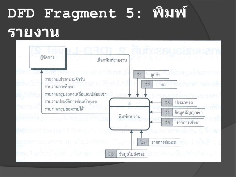 DFD Fragment 5: พิมพ์รายงาน