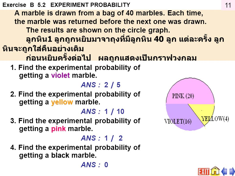 1. Find the experimental probability of getting a violet marble.