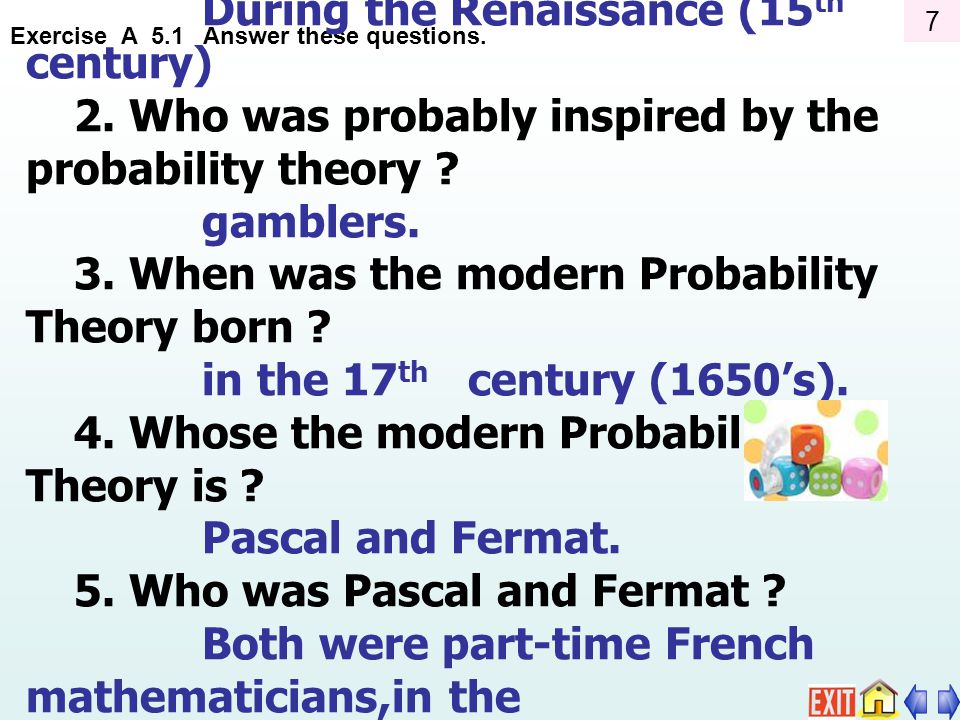 1. When was the probability theory born