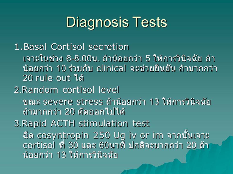 Diagnosis Tests 1.Basal Cortisol secretion