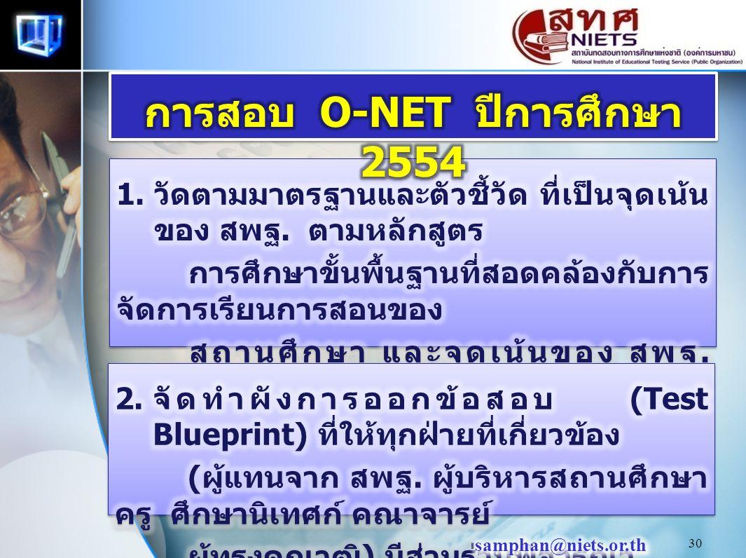 การสอบ O-NET ปีการศึกษา 2554