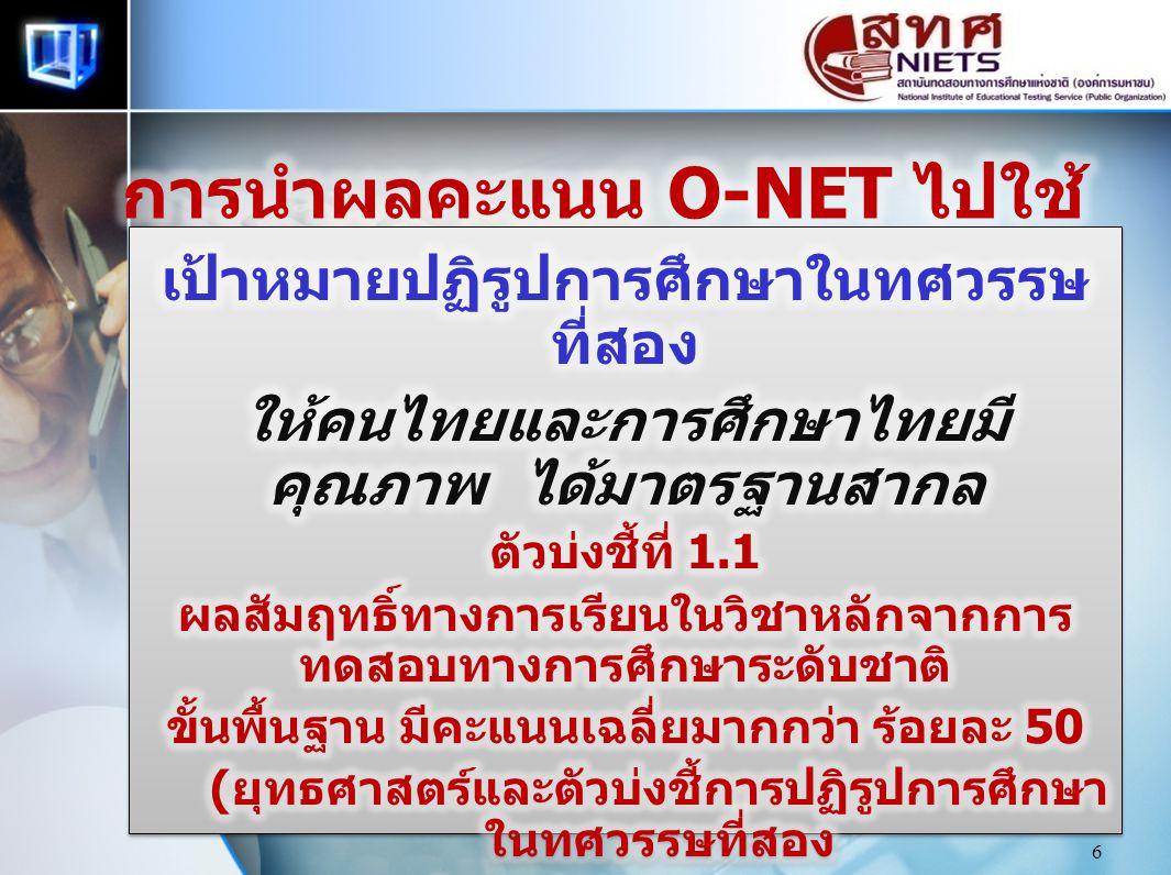 การนำผลคะแนน O-NET ไปใช้