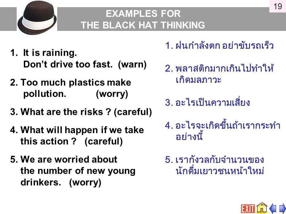 EXAMPLES FOR THE BLACK HAT THINKING