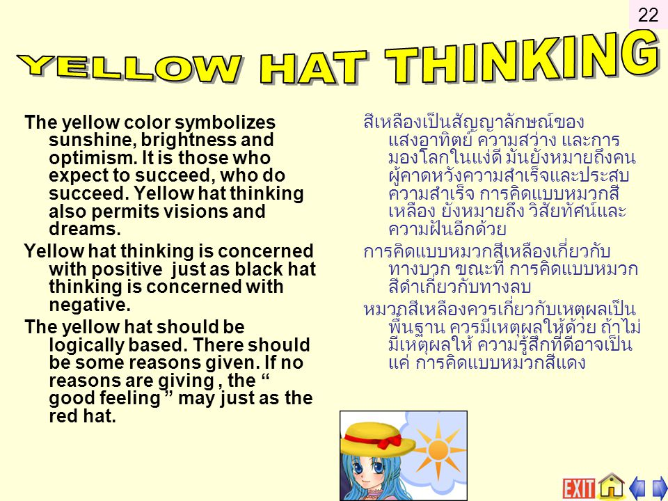 22 YELLOW HAT THINKING.