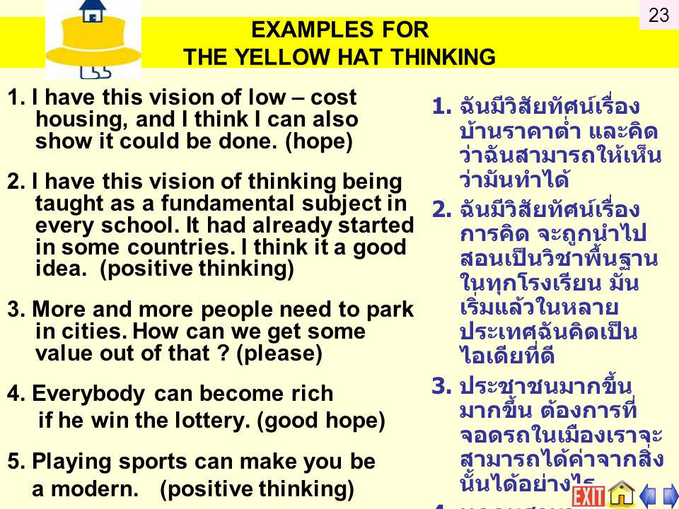 EXAMPLES FOR THE YELLOW HAT THINKING