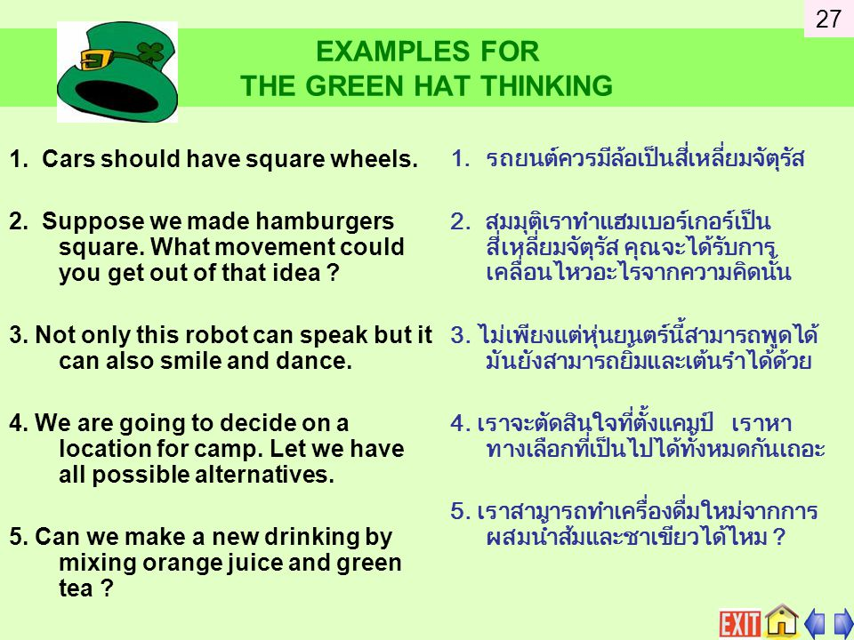 EXAMPLES FOR THE GREEN HAT THINKING