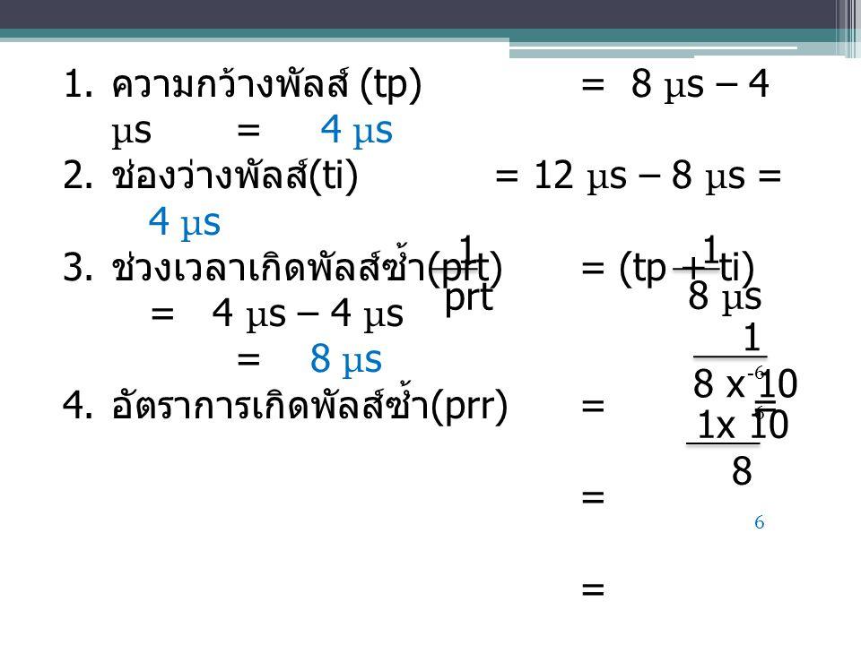 ความกว้างพัลส์ (tp) = 8 μs – 4 μs = 4 μs