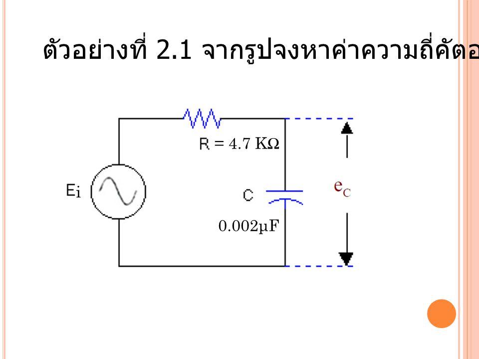 ตัวอย่างที่ 2.1 จากรูปจงหาค่าความถี่คัตออฟของวงจร