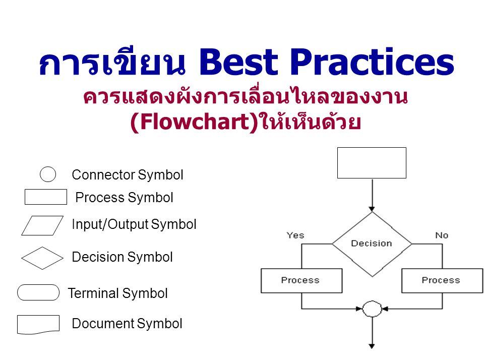 การเขียน Best Practices ควรแสดงผังการเลื่อนไหลของงาน(Flowchart)ให้เห็นด้วย