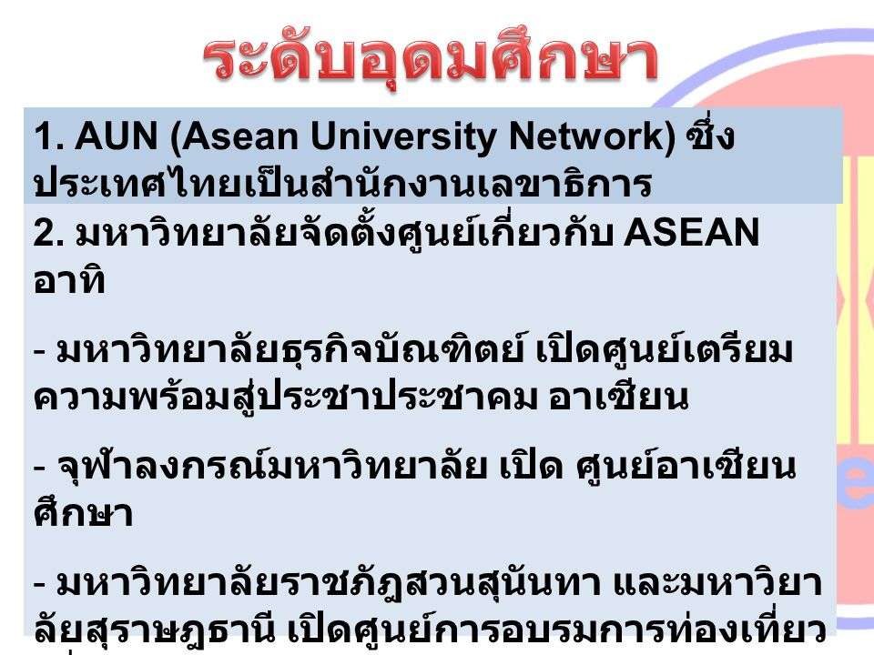 1. AUN (Asean University Network) ซึ่งประเทศไทยเป็นสำนักงานเลขาธิการ
