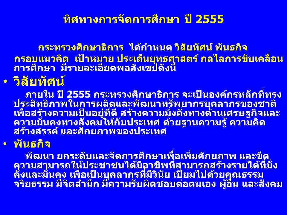 ทิศทางการจัดการศึกษา ปี 2555