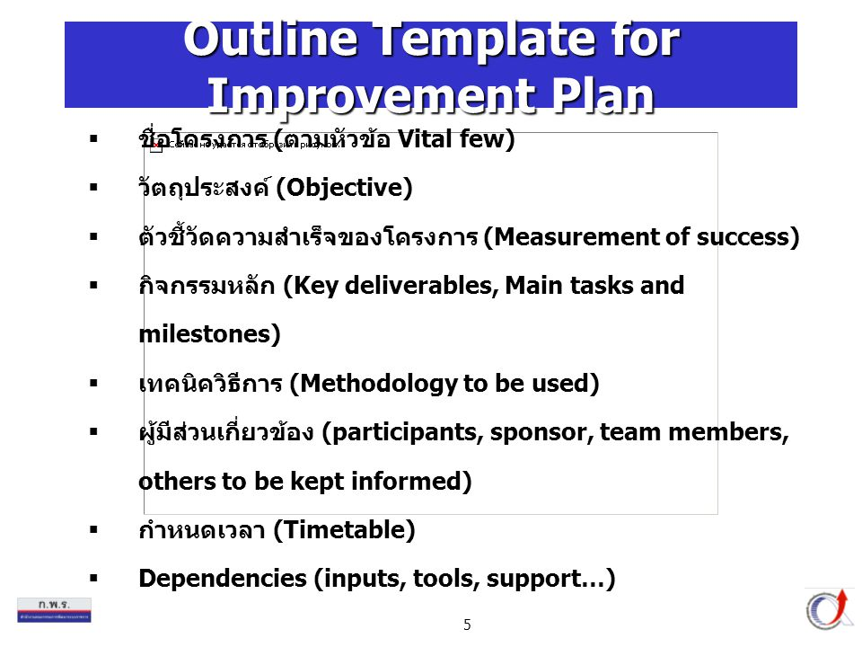 Outline Template for Improvement Plan