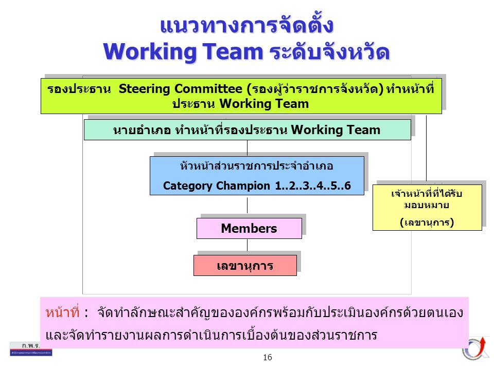 แนวทางการจัดตั้ง Working Team ระดับจังหวัด