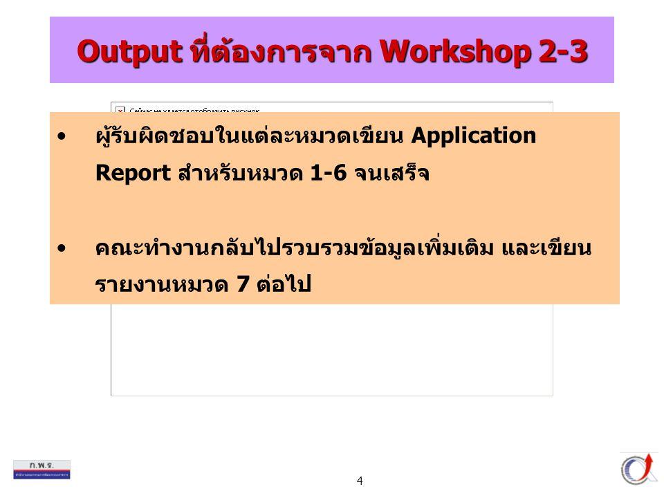Output ที่ต้องการจาก Workshop 2-3