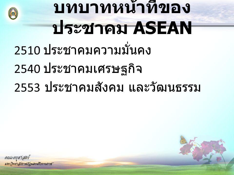 บทบาทหน้าที่ของประชาคม ASEAN