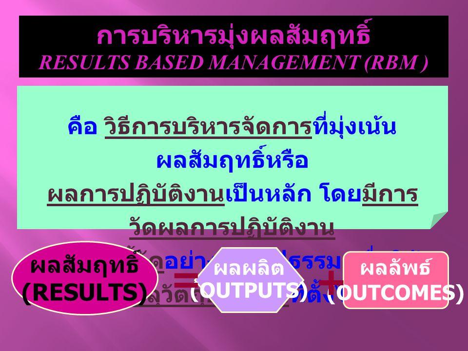 การบริหารมุ่งผลสัมฤทธิ์ RESULTS BASED MANAGEMENT (RBM )