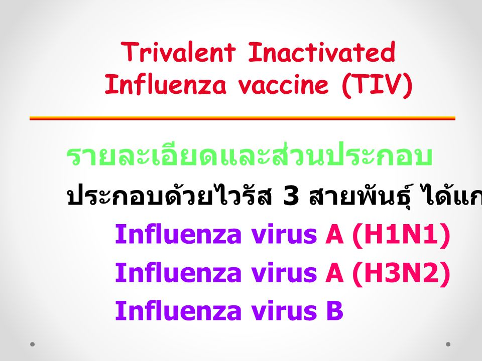 Trivalent Inactivated Influenza vaccine (TIV)