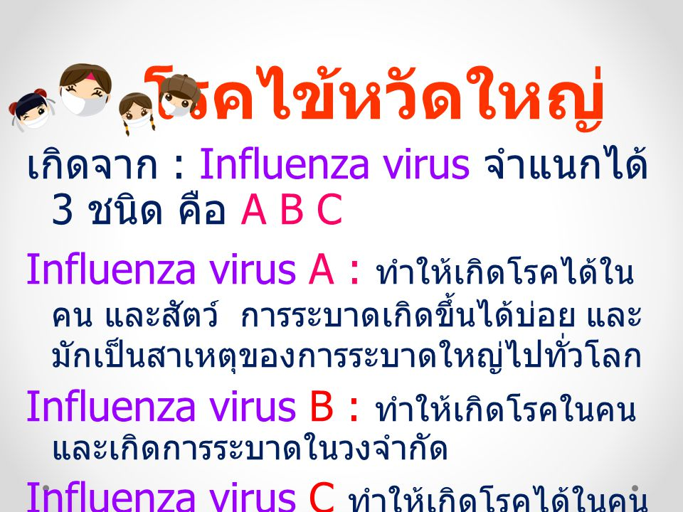 โรคไข้หวัดใหญ่ เกิดจาก : Influenza virus จำแนกได้ 3 ชนิด คือ A B C