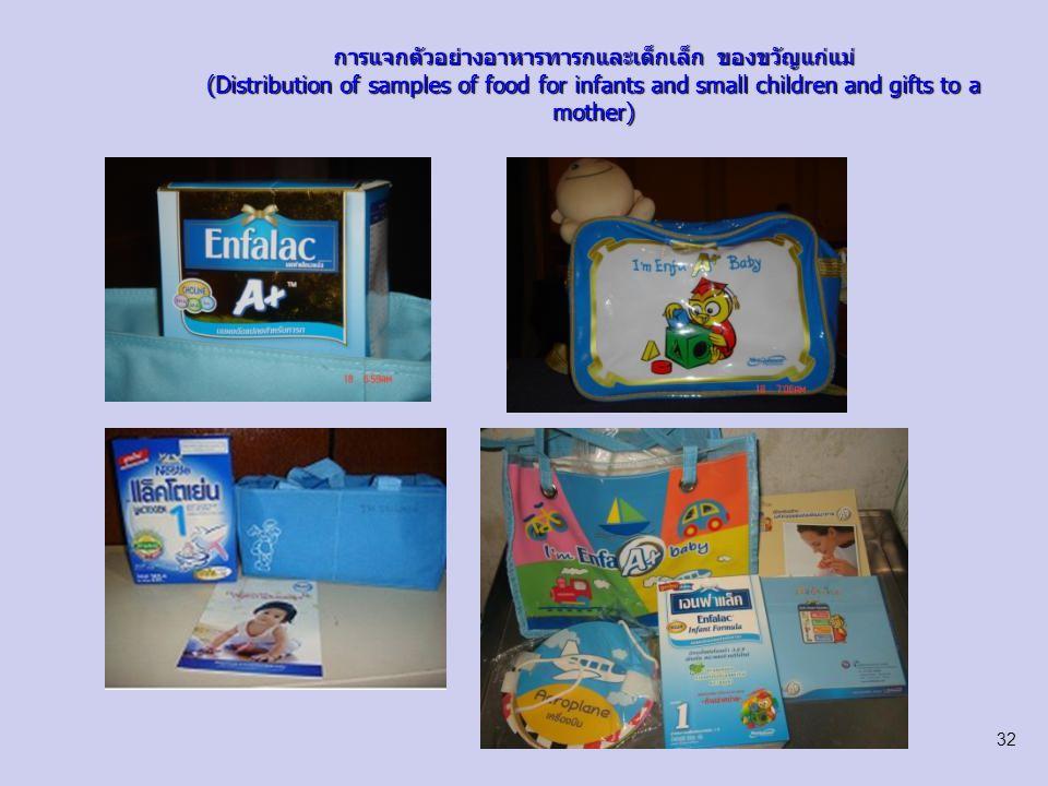 การแจกตัวอย่างอาหารทารกและเด็กเล็ก ของขวัญแก่แม่ (Distribution of samples of food for infants and small children and gifts to a mother)