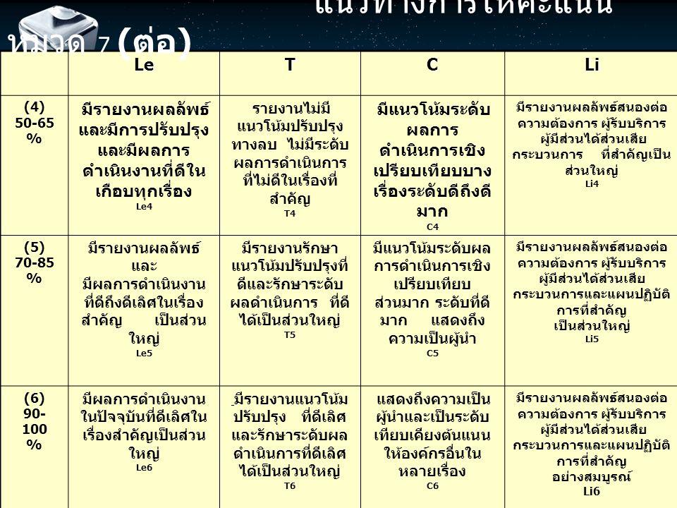 แนวทางการให้คะแนน หมวด 7 (ต่อ)
