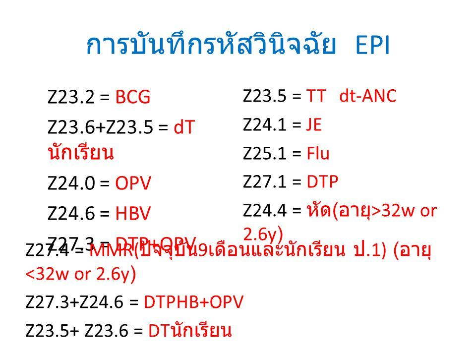 การบันทึกรหัสวินิจฉัย EPI