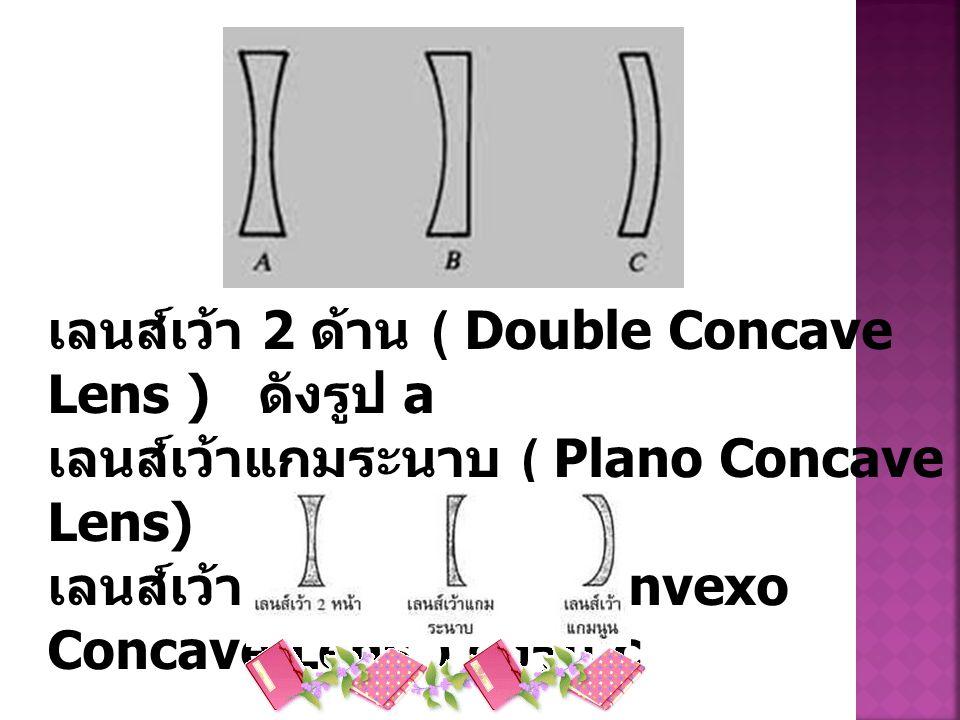 เลนส์เว้า 2 ด้าน ( Double Concave Lens ) ดังรูป a เลนส์เว้าแกมระนาบ ( Plano Concave Lens) ดังรูป b เลนส์เว้าแกมนูน ( Convexo Concave Lens ) ดังรูป c