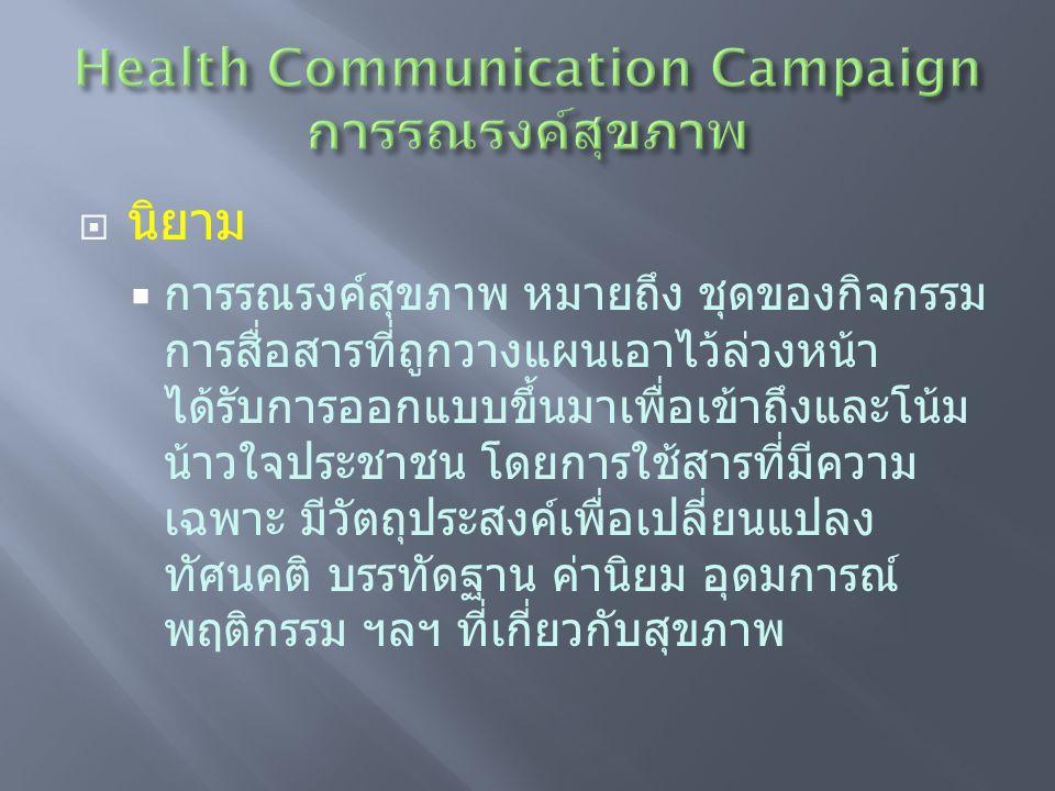 Health Communication Campaign การรณรงค์สุขภาพ