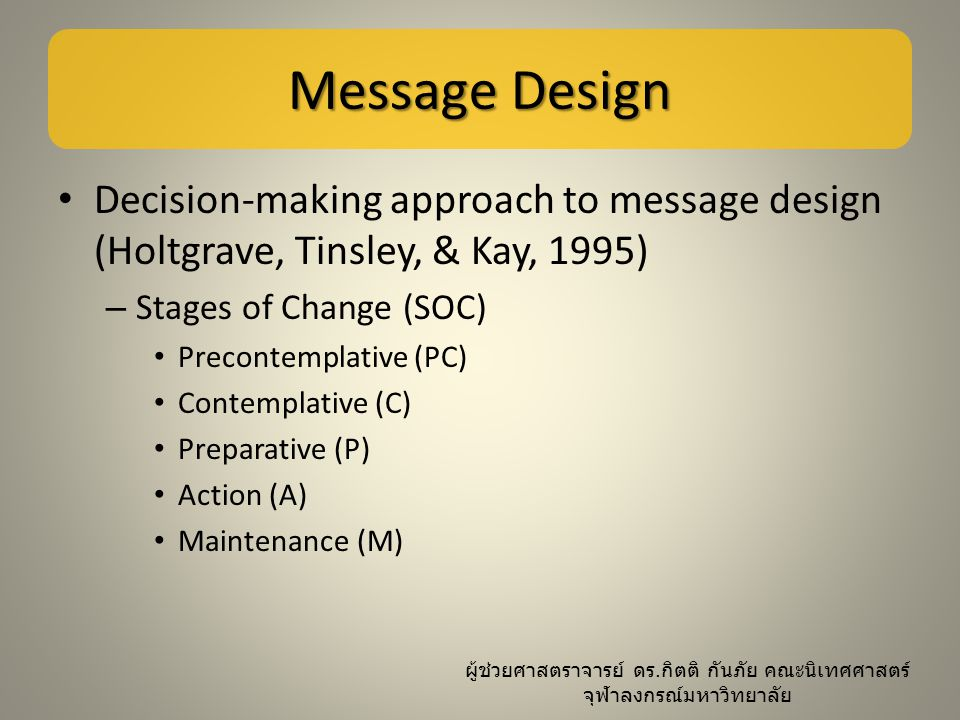 Message Design Decision-making approach to message design (Holtgrave, Tinsley, & Kay, 1995) Stages of Change (SOC)