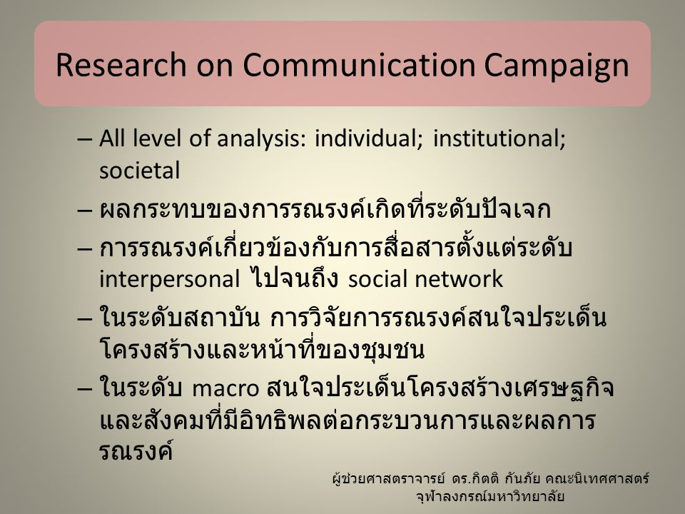 Research on Communication Campaign