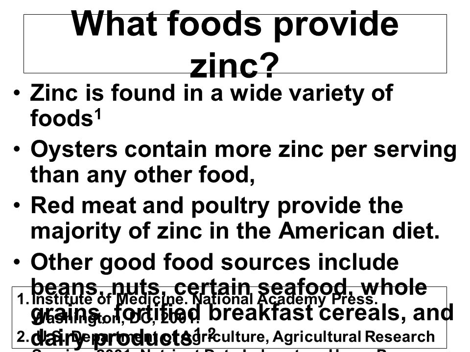 What foods provide zinc