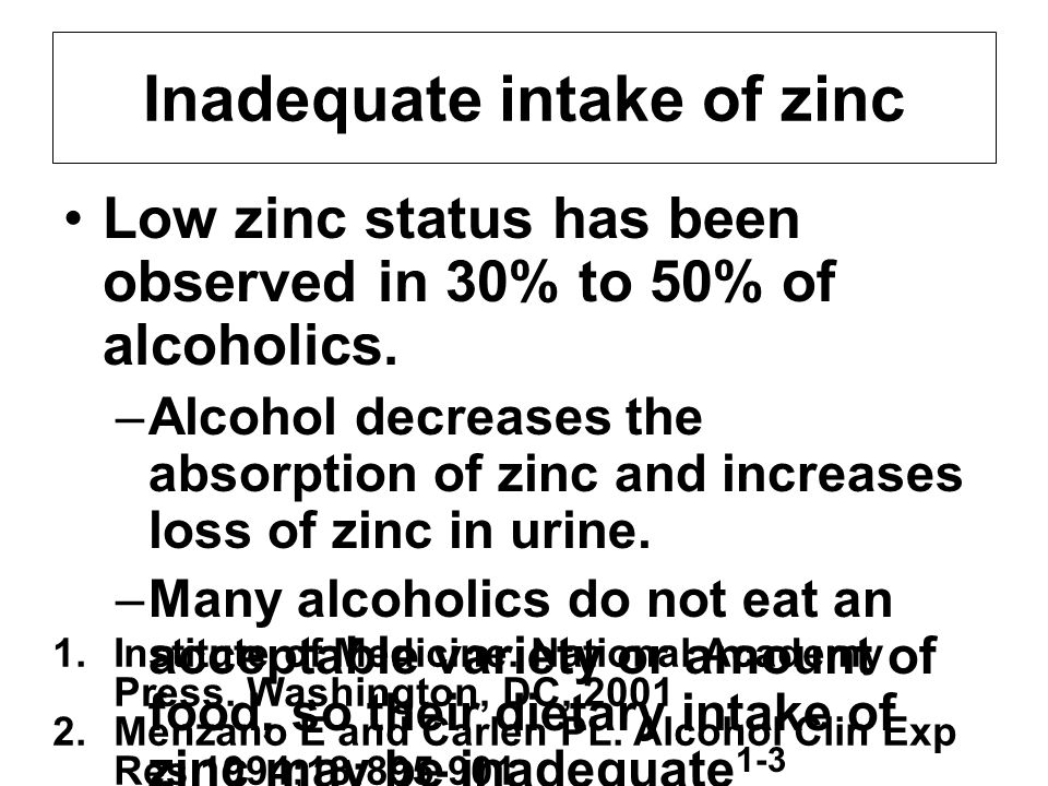 Inadequate intake of zinc