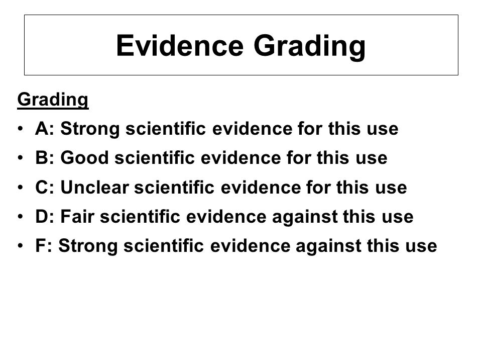 Evidence Grading Grading A: Strong scientific evidence for this use