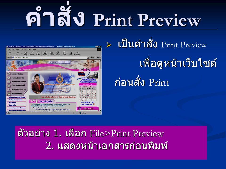 คำสั่ง Print Preview เป็นคำสั่ง Print Preview เพื่อดูหน้าเว็บไซต์ ก่อนสั่ง Print. ตัวอย่าง 1. เลือก File>Print Preview.