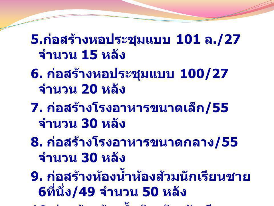 5.ก่อสร้างหอประชุมแบบ 101 ล./27 จำนวน 15 หลัง