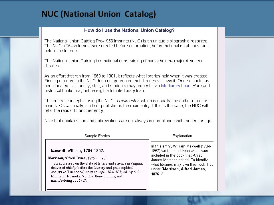 NUC (National Union Catalog)