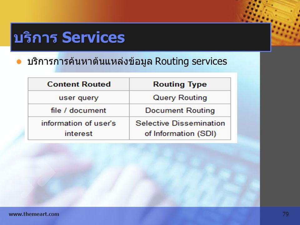 บริการ Services บริการการค้นหาต้นแหล่งข้อมูล Routing services