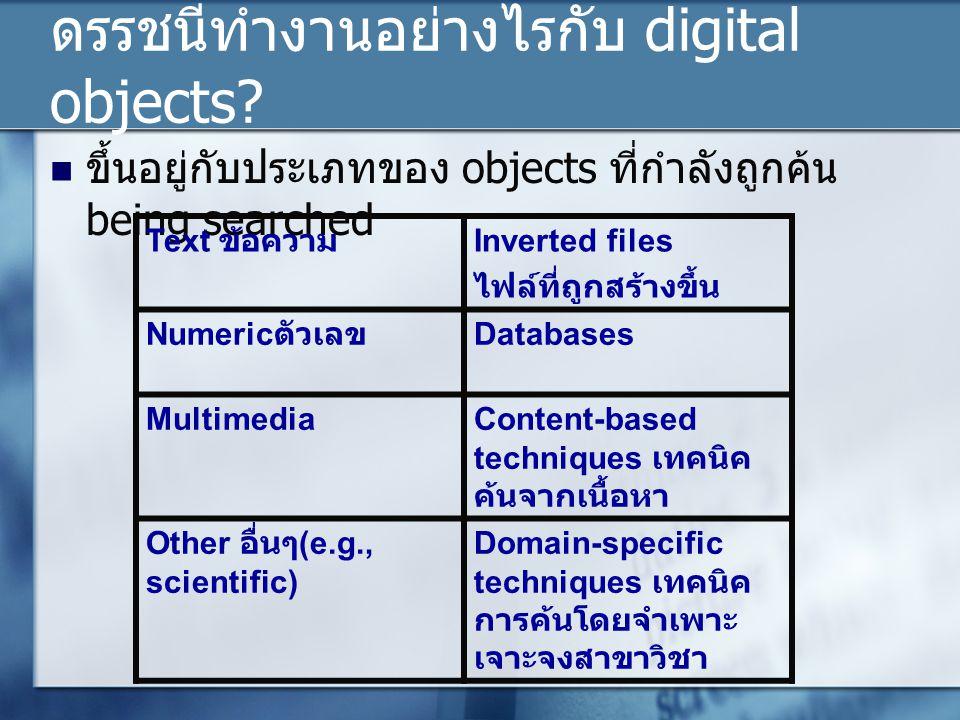 ดรรชนีทำงานอย่างไรกับ digital objects