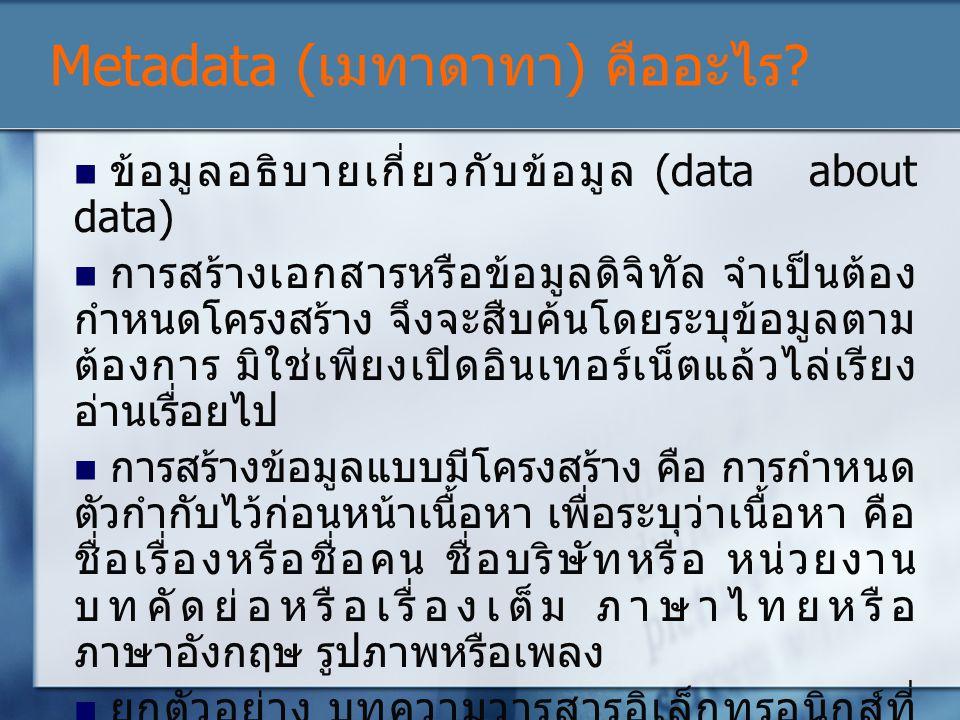 Metadata (เมทาดาทา) คืออะไร