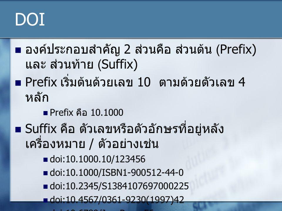 DOI องค์ประกอบสำคัญ 2 ส่วนคือ ส่วนต้น (Prefix) และ ส่วนท้าย (Suffix)