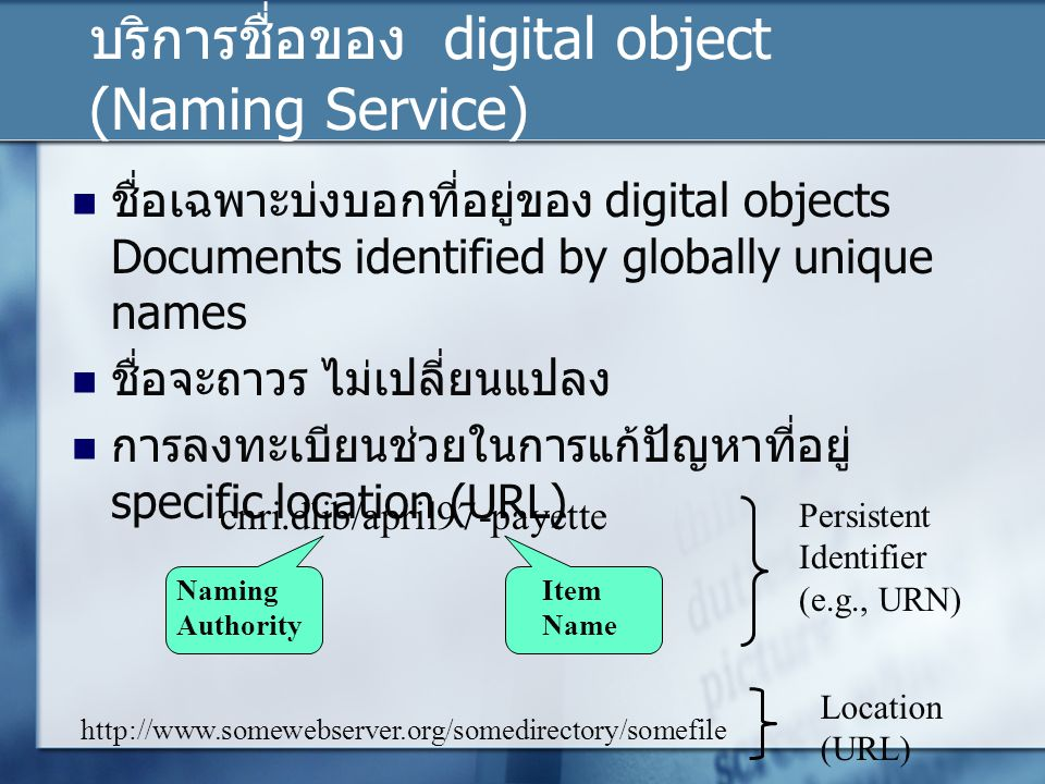 บริการชื่อของ digital object (Naming Service)